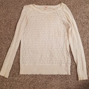 Cream colored, floral mesh long sleeve
